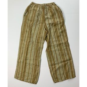 FLAX 100% Linen Wide Leg Striped Pants